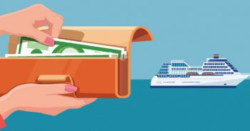 image of hands reaching into wallet with cruise ship in background