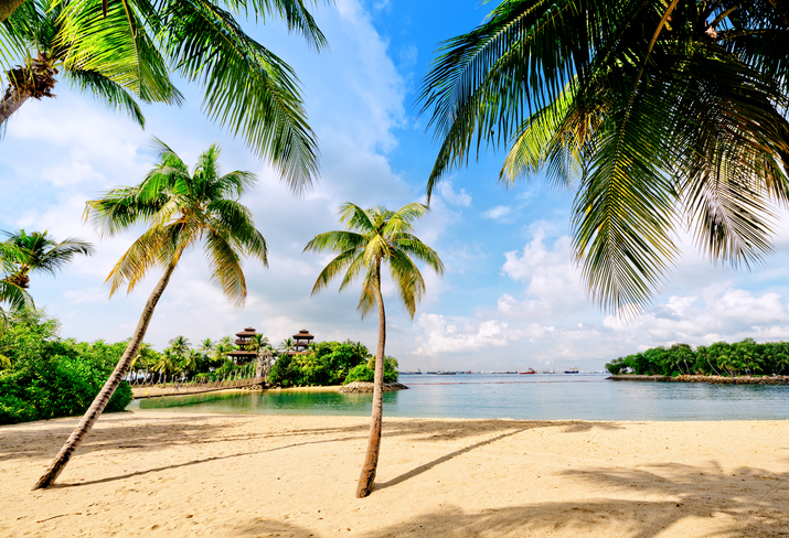 The beaches of Sentosa island in Singapore