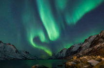 northern lights from the Norwegian fjords